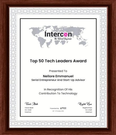 Top 50 Tech Award Certificate