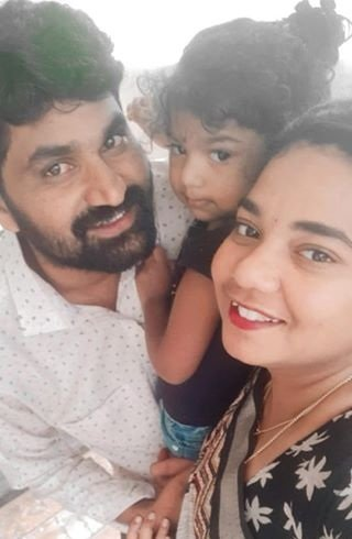 Arpitha balraj along with her husband & child