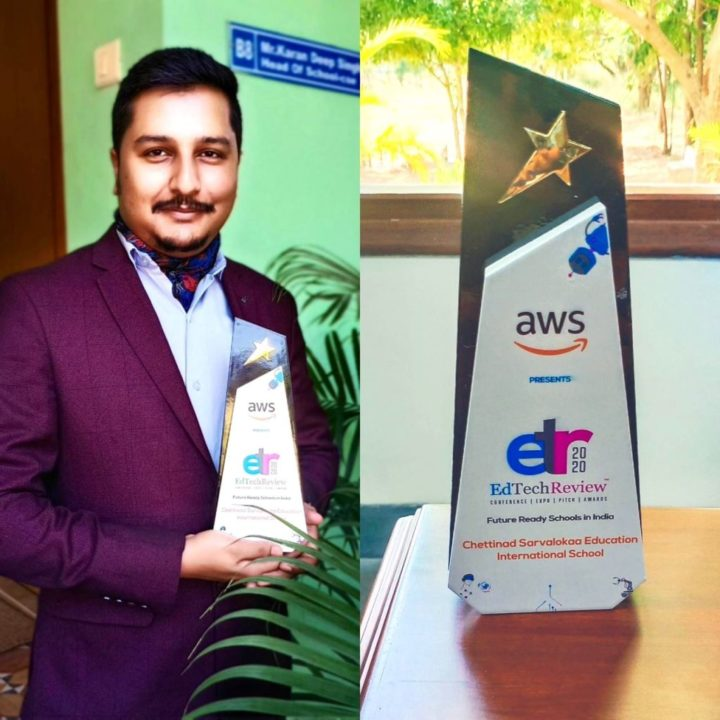Karandeep Singh With EdTech Review Award By AWS